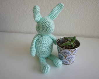 Amigurumi Crochet Stuffed Bunny, Mint Green