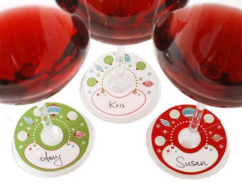 Holiday Glass Tags - Write the name of the glass holder on the tag & tag the glass - 24 Pack (8 Red, 8 Green, 8 White)