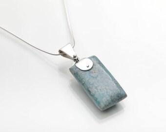 Larimar Pendant, Calblue, Specimen Larimar Stones Jewelry, Double Sided