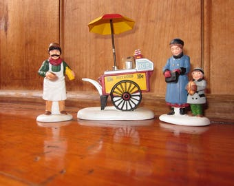 "Vintage Department 56 Heritage Village Collection ""Hot Dog Vendor"" Hand Painted Porcelain Set of 3 Accessories Christmas Village # 5886-6"
