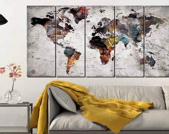 World Map Wall Art,World Map Canvas Art,Large World Map,World Map 5 Panels,World Map Push Pin,World Map Abstract,World Map Art,World Map
