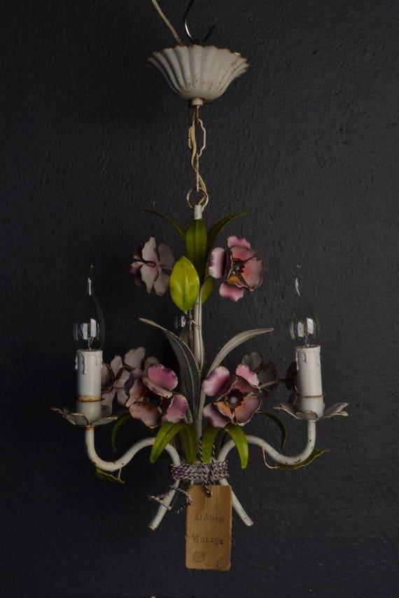 Italian tole Flower Chandelier with pink metal flowers