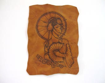 Handcrafted Leather Patch with Pyrography. Geisha