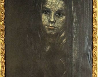 """Rare ca.1964 Portrait of Girl """"Loneliness"""" Pastel Painting Artist Signed with Frame"""