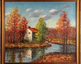 Superb ca.1930 House in Fall Scenery Impressionist Painting Oil/Canvas/Frame Signed