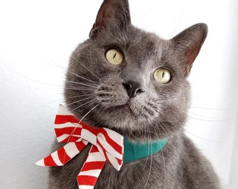 Candy Cane Stripe Bow Tie, Necktie, or Bow on a Green Shirt Style Collar for both Dogs & Cats