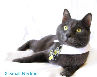 Black and Yellow Diamond Bow Tie, Necktie, or Bow on a Shirt Style Collar for both Dogs & Cats