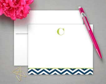 Personalized Notes | Stationery Cards | Bespoke Stationary | CHEVRON INITIAL | Flat Notecards | Personalized Stationery Note Cards