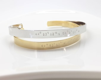 Custom coordinates cuff-Silver, rose gold or 16k gold plated coordinates bracelet-hand stamped GPS coordinates location cuff bridesmaid gift