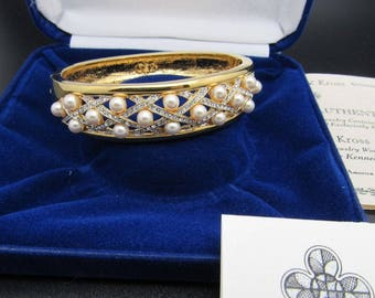 Jackie Kennedy Bangle - 24K GP Hinged Bracelet with Pearls, Crystals, Box and Certificate
