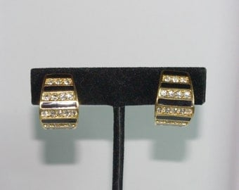 Christian Dior Clip On Earrings - Gold Tone with Black Enameling and Crystals - S2426