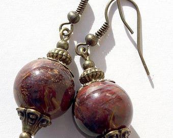 "Earrings in bronze with Pietersite beads: ""The mystics"""