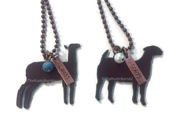 SHOW Farm Animals LAMB or GOAT Livestock Necklace made of Rustic Rusty Rusted Recycled Metal