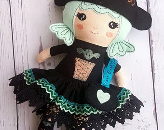 Witch girl doll-Dress up-Halloween-Decoration-Preschoolers-Present-Handmade-Cloth doll-With skirt-For girls-Cute