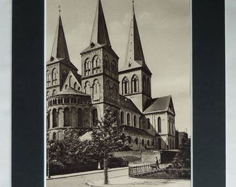 1920s Antique Cologne Print of Basilica of St. Cunibert, Available Framed, Medieval Art, Romanesque Church Decor Old German Gift Photography