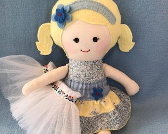 """Handmade rag doll, fabric doll, gift for girl, soft doll, cloth doll, dressup doll, child friendly, rag doll, ballerina rag doll, 14"""" 35cm,"""