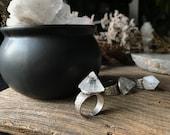 Apophyllite Ring - Adjustable Ring - Statement Ring - Witch Ring - Boho Ring - Crystal Ring
