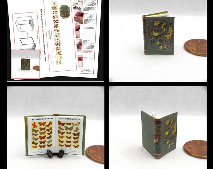 BUTTERFLIES And MOTHES Book Kit PDF 1:12 Miniature Dollhouse Scale Book Miniature Accessory