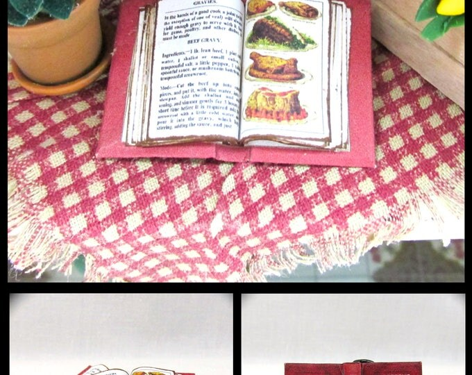 Open Book MRS BEETON'S COOKERY Cookbook #1 Miniature Dollhouse 1:12 Scale Book Meat Gravy Food Kitchen Cook