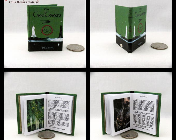 1:6 Scale Miniature Book THE TWO TOWERS Illustrated Readable Book J.R.R Tolkien Play Scale Barbie Book 1/6 scale Lord of the Rings