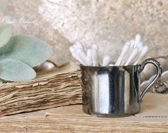 Vintage Silver Plate Baby Cup Handle French Farmhouse Decor Fixer Upper Decor