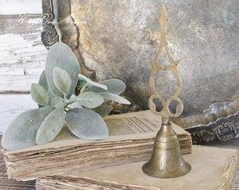 Antique Brass Bell Dinner Service School Bell Farmhouse Decor Fixer Upper Decor