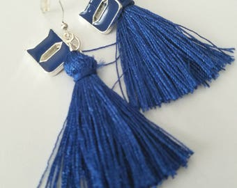 DUKE University Blue Devils Dangle Logo Charm and Tassel Earrings