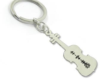 Sterling silver personal soundwave violin keychain, waveform keychain, personalized waveform key ring, sonogram ultrasound