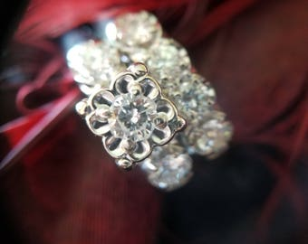 14K White Gold 0.85 CTTW Diamond Engagement Ring with Wedding Band (st - 2094)