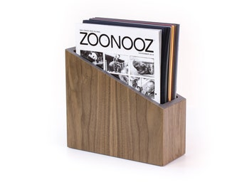 "File Folder | Desk Organizer | Walnut + Colored Laminate | size 10""L x 9""~5""H x 4""D 
