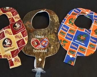House Divided FSU Seminoles / UF Gators Inspired Herringbone Custom Embroidered Baby Pacifier / Binky Bibs Set