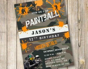 Paintball Birthday Invitation, Paintball Birthday, Paintball Birthday Party Invitations, Digital File, Printable
