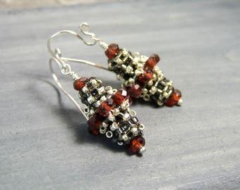 Victorian Garnet Earrings Red Beaded Earrings Gemstone Drop Earrings Sterling Silver, Unique Jewelry, Handcrafted Earrings, Birthstone Gifts