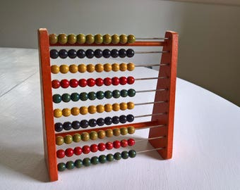 Vintage Children's Abacus Toy --- Retro 1940's 1950's Counting Moving Beads Nursery Home Decor --- Antique Style Baby Room Cute Curiosity
