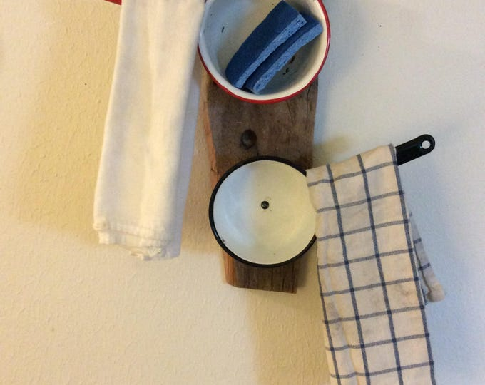 Vintage repurposed enamel sauce pans made into hanging towel racks, vintage kitchen decor, rustic kitchen decor, red and black kitchen decor