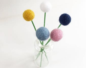 Felt ball flowers, pom pom flower, felt flowers, felt decorations, faux flowers, billy buttons, fake flowers, pom pom decor, photo props