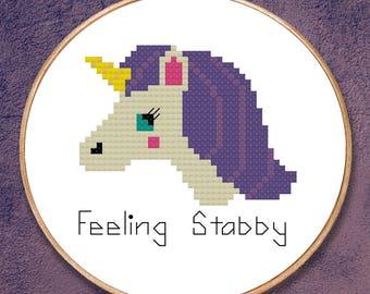 Feeling Stabby - Unicorn - Modern Cross Stitch PDF - Instant Download