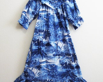 Blue Hawaiian Dress Large Caftan Cotton - Made in Hawaii Beach Resort - Hilo Hattie