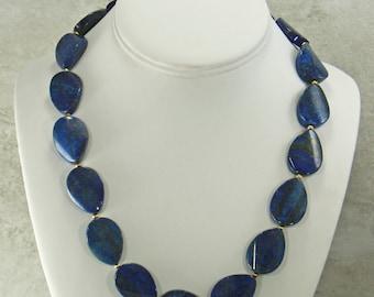 Blue Lapis Gemstone Necklace Strand, Statement Necklace, Lapis Lazuli Beaded Gemstone Necklace, Natural Lapis Jewelry, Gemstone Bib Necklace