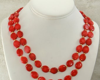 Red Coral Gemstone Necklace Strand, Statement Necklace, Red Coral Beaded Gemstone Necklace, Natural Coral Jewelry, Choose Length