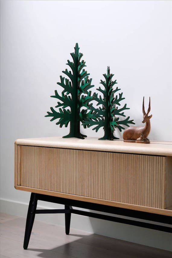 Set of two green laser-cut cardboard table-top Christmas trees, Holiday home and office decoration