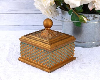 Vintage Trinket Box Gold Gray-Blue Accents, Square Jewelry Box with Lid Round Finial Elegant Hollywood Regency Decor
