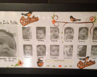 Baby's first year frame. Sports logo theme. Mascot. Your favorite team. Customize with baby's name and birth info/custom and hand painted.