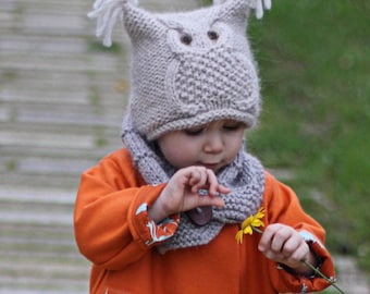 """Owl Hat Knitting Pattern """"Chouette"""" (Toddler, Child, Adult sizes) - English, French & Russian"""