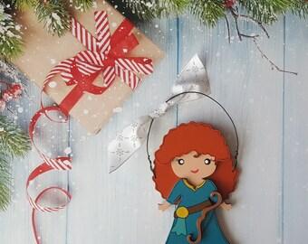 Disney Christmas Ornament, Merida Princess, Elsa, Anna, Cinderella, Rapunzel, Jasmine, Snow White, Belle, Aurora, Moana, Tiana, Ariel, Mulan