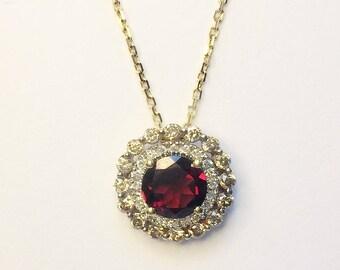 Garnet & Diamond Pendant / 14k