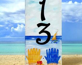 Vertical beach numbers, Nautical, Ocean house Number plaque,  Address Sign, Mailbox beach sign, Door sign