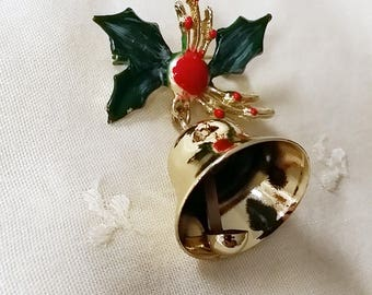 Vintage Enamel Holiday Christmas Working Bell Pin Brooch Clapper Bell Sound