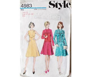 "Vintage 70's Style #4983 Sleeveless Dress and Jacket Suit Sewing Pattern Size Bust 38"" UK 16"