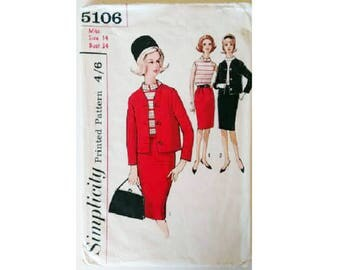 """Simplicity 5106 Vintage 60's Jackie O Mad Men Jacket Skirt Suit and Blouse Sewing Pattern UK 12 Bust 34"""""""